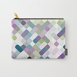 Purple Lime Green Retro Rounded Squares Pattern Carry-All Pouch