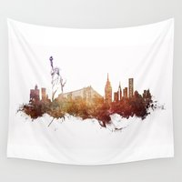 new york skyline Wall Tapestries featuring New York City - skyline by jbjart