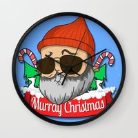 murray Wall Clocks featuring Murray christmas by KickPunch