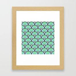 Green Pastel Art Deco Fan Pattern Framed Art Print