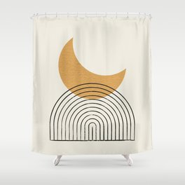 Moon mountain gold - Mid century style Shower Curtain