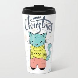 Cool Christmas Cat Merry Christmas Typography Travel Mug