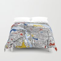 portland Duvet Covers featuring Portland map by Mondrian Maps