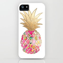 Aloha Pineapple, Hot Pink+Faux Gold iPhone Case