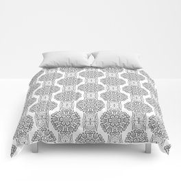 Gray white Damask ornament . Comforters