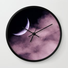 Crescent Moon On A Fluffy Pillow Wall Clock