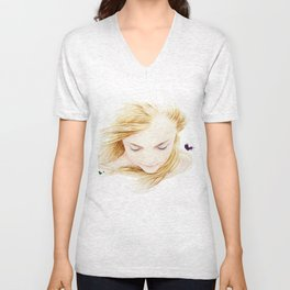 My finger tips are running through her hair, my mind is resting on her lips.. Unisex V-Neck