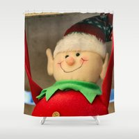 dentist Shower Curtains featuring I wanna be a dentist but my arms are too floppy! by IowaShots