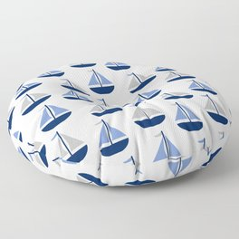 Nautical Sailboat Navy Blue Gray  Floor Pillow