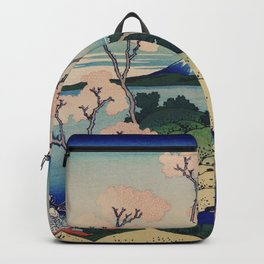 Sakura blossom with Mount Fuji in the background, Japanese fine art Backpack
