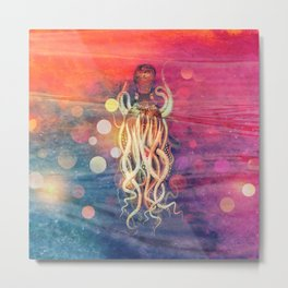 Octopus Funky Water Abstract  Metal Print