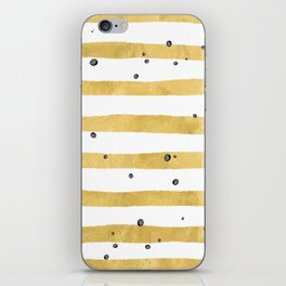 Modern hand painted yellow gold black watercolor splatters stripes iPhone Skin