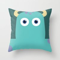 pixar Throw Pillows featuring PIXAR CHARACTER POSTER - Sulley - Monsters, Inc. by Marco Calignano