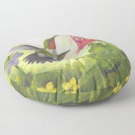 Hummingbird and Columbine Floor Pillow