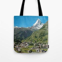 Retro Swiss travel Zermatt and Mount Matterhorn  Tote Bag