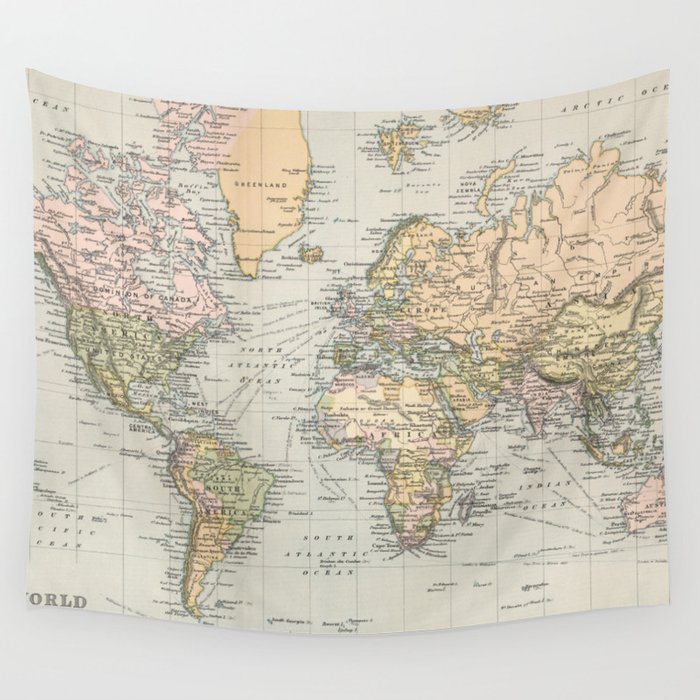 1892 Map Of The World.Vintage Map Of The World 1892 Wall Tapestry By Bravuramedia Society6