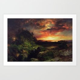 Sunset at the Grand Canyon landscape painting by Thomas Moran Art Print