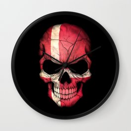 Dark Skull with Flag of Denmark Wall Clock