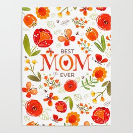 Mother's Day Watercolor Flowers and Butterflies Poster