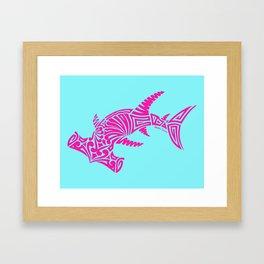 Nancy's Hot Pink Tribal Hammerhead Shark Framed Art Print