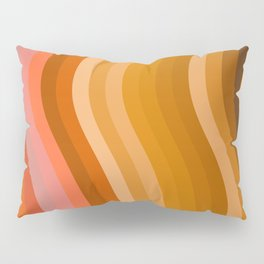 Groovy Wavy Lines in Retro 70s Colors Pillow Sham