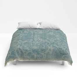Antique rustic teal damask fabric Comforters