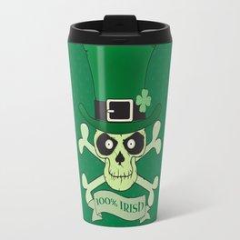 100% Irish.Green lucky irish skull Travel Mug