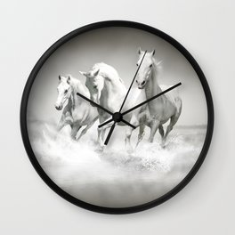 Wild White Horses Wall Clock