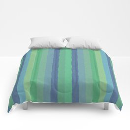 Art Stripe Green and Blue Comforters