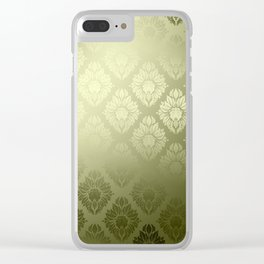 """""""Olive Damask Pattern"""" Clear iPhone Case"""