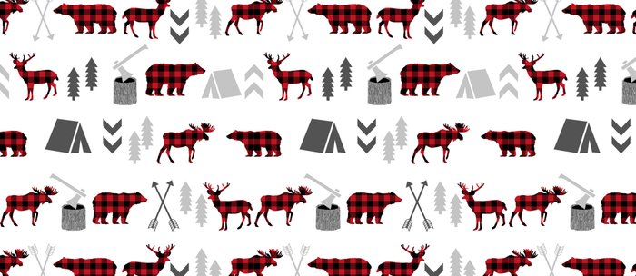 Camping cabin life chalet all day plaid moose deer bear pattern outdoors nature lover Coffee Mug