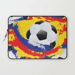 Football Ball and red, blue and yellow Strokes Laptop Sleeve