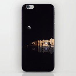 Crescent moon and earth shine at city hall clock tower iPhone Skin