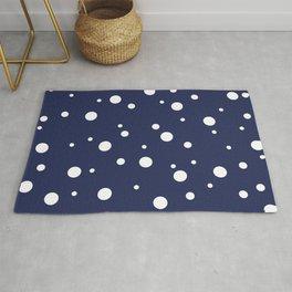 Minimal Abstract White Dots on Dark Blue  Rug