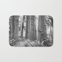 Forest Trail in Black and White Bath Mat