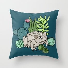 Toad with Succulents - Dark Turquoise Throw Pillow