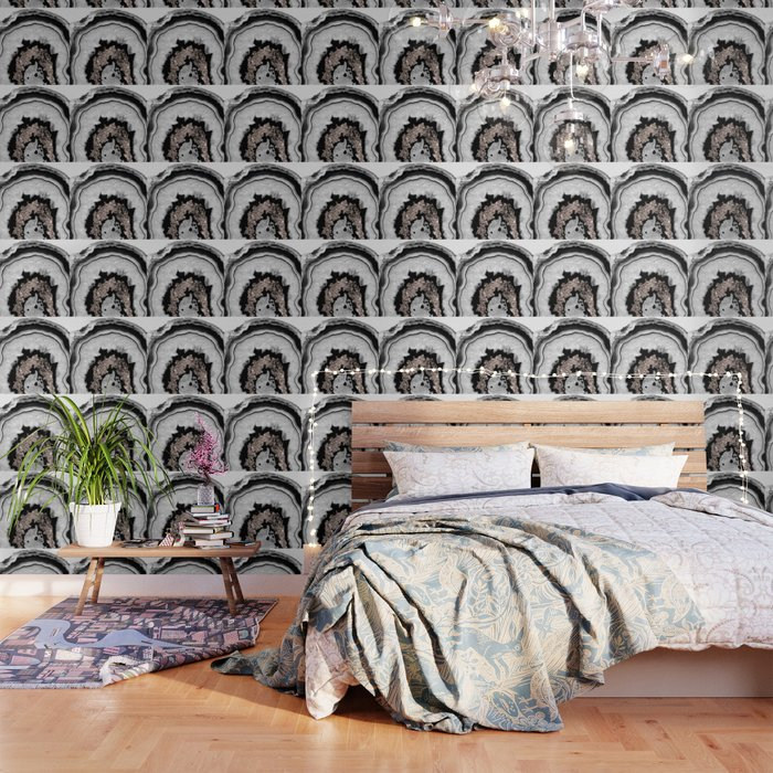 Gray Black White Agate with Rose Gold Glitter #1 #gem #decor #art #society6 Wallpaper