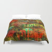 broadway Duvet Covers featuring Slice of Broadway by Ganech joe