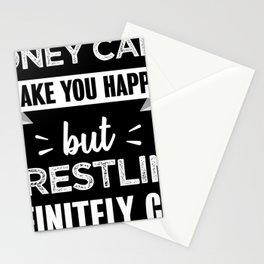Wrestling makes you happy Funny Gift Stationery Cards