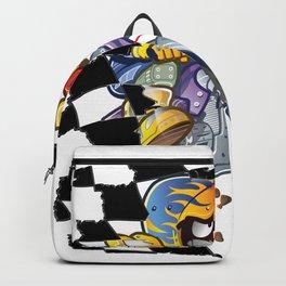 Motocross boy crashing through the checkered flag Backpack