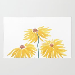 Watercolor flower rugs society6 three yellow flowers rug mightylinksfo