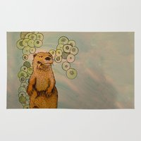 otter Area & Throw Rugs featuring Otter by AlexandraDesCotes
