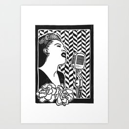 Lady Day (Billie Holiday block print blk) Art Print