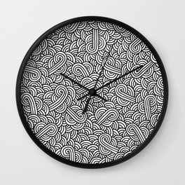 Black and white swirls doodles Wall Clock