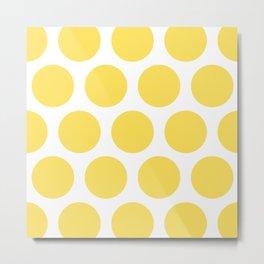 Large Polka Dots: Yellow Metal Print