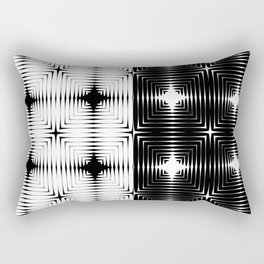 Abstract tile made of white and black stretches of kradratov, rhombuses and stars. Rectangular Pillow