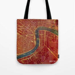New Orleans Louisiana 1932 vintage old beautiful map for bar decoration Tote Bag