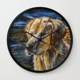 One Wet Golden Retriever by Teresa Thompson Wall Clock