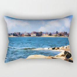 New England Shoreline - Painterly Rectangular Pillow