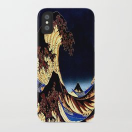 The GREAT Wave Midnight Blue Brown iPhone Case